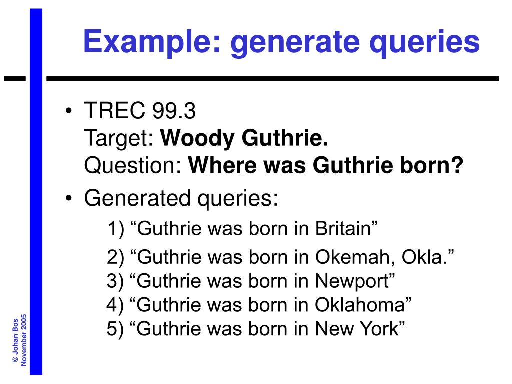 Example: generate queries