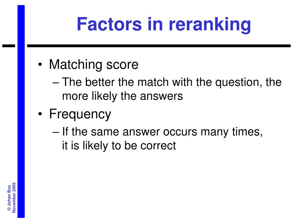 Factors in reranking