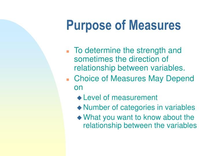 Purpose of Measures