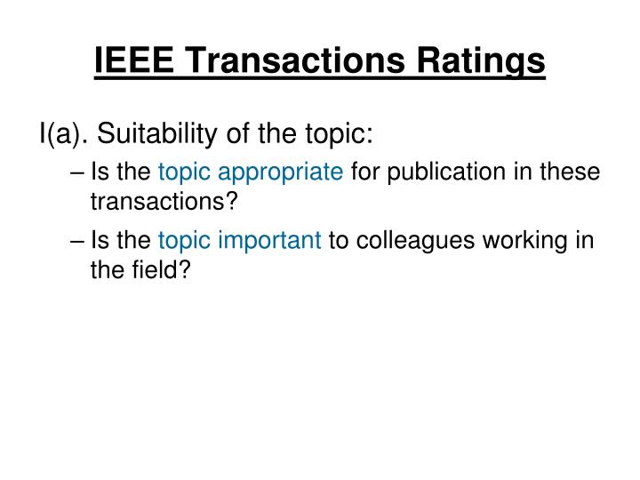 IEEE Transactions Ratings