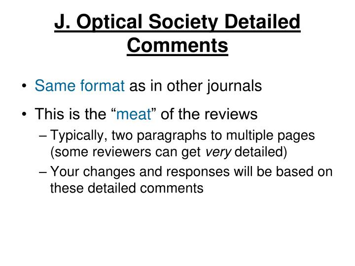 J. Optical Society Detailed Comments