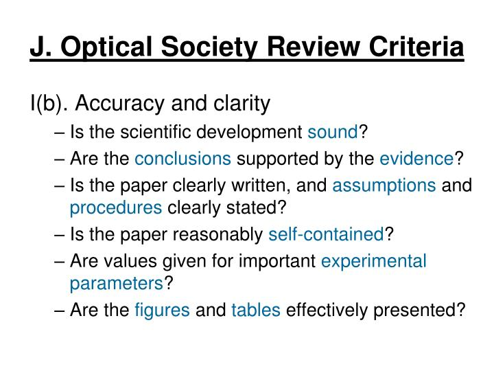 J. Optical Society Review Criteria
