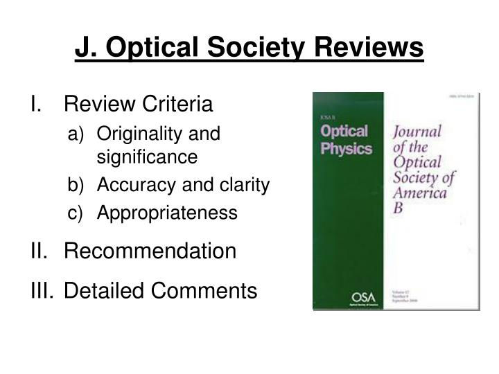 J. Optical Society Reviews