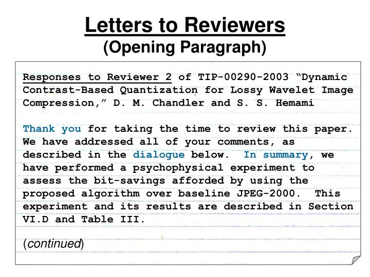 Letters to Reviewers