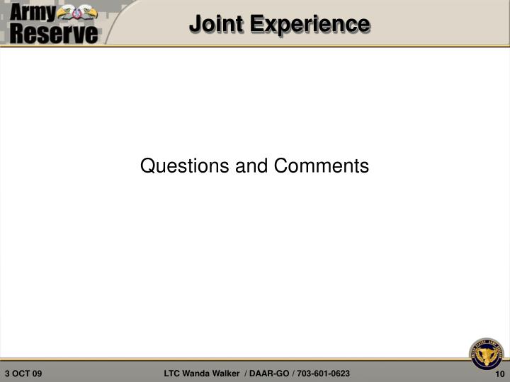 Joint Experience