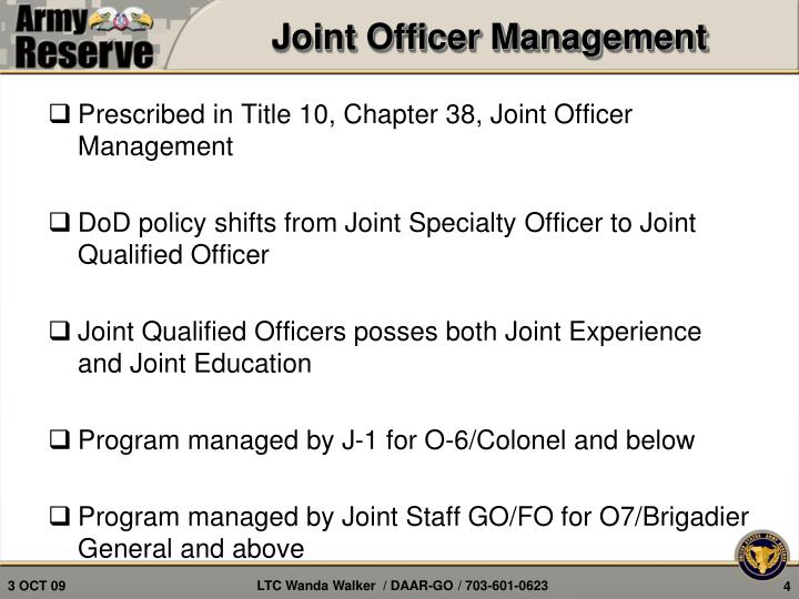 Joint Officer Management
