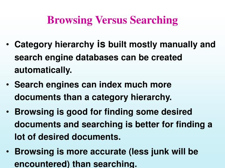 Browsing versus searching