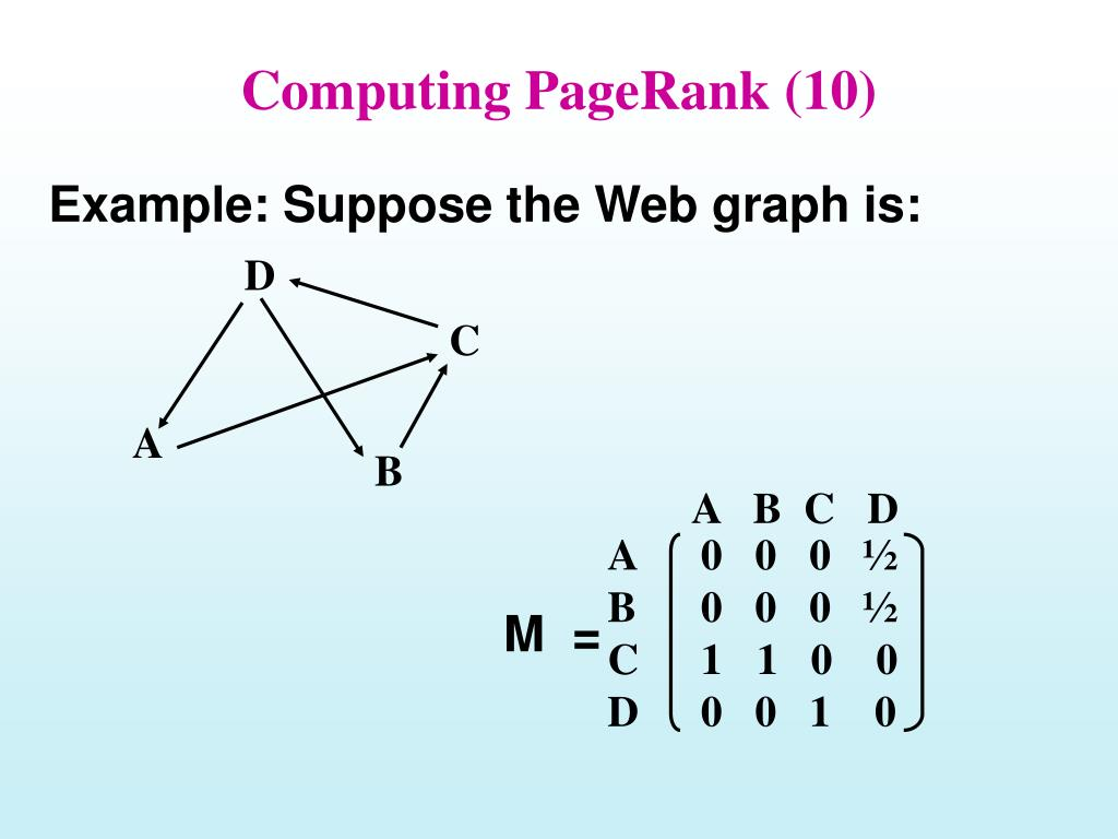Computing PageRank (10)