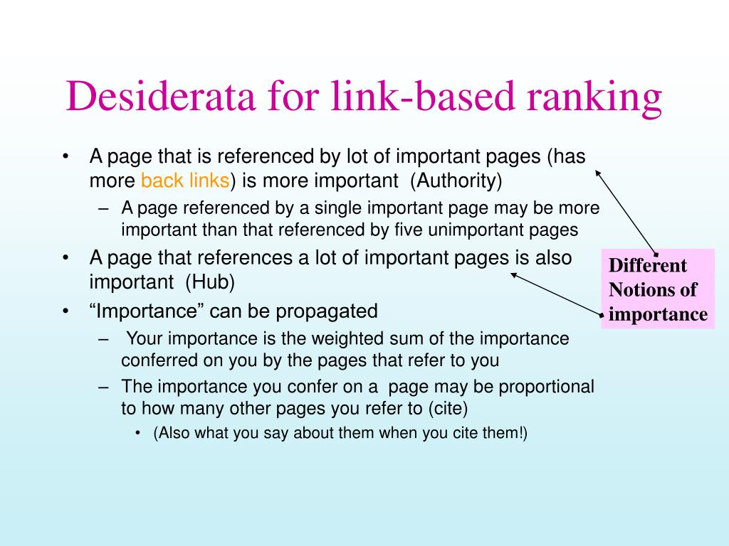 Desiderata for link-based ranking
