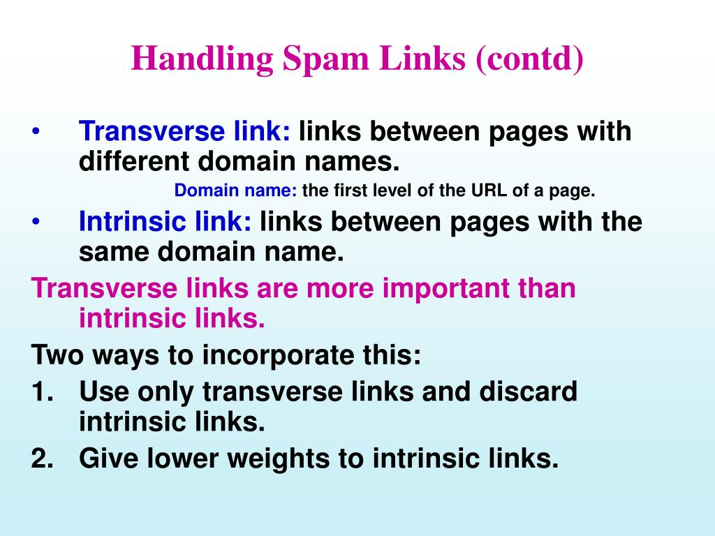 Handling Spam Links (contd)