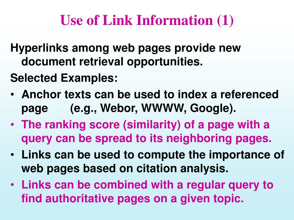 Use of Link Information (1)