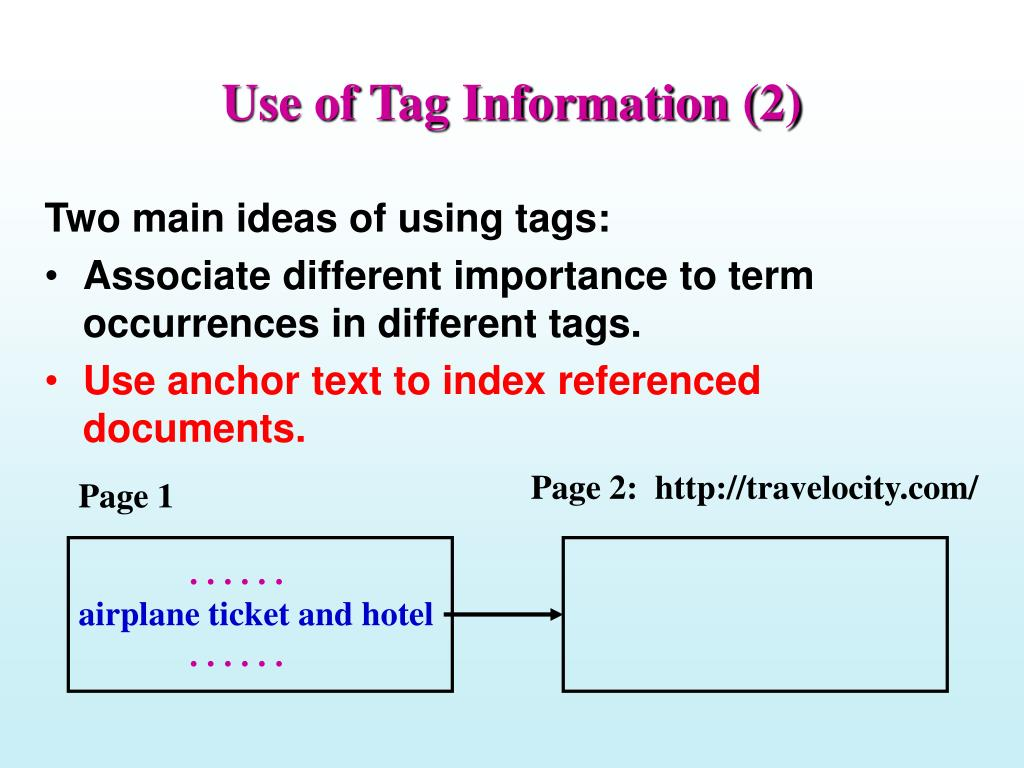 Use of Tag Information (2)