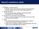 general compliance needs
