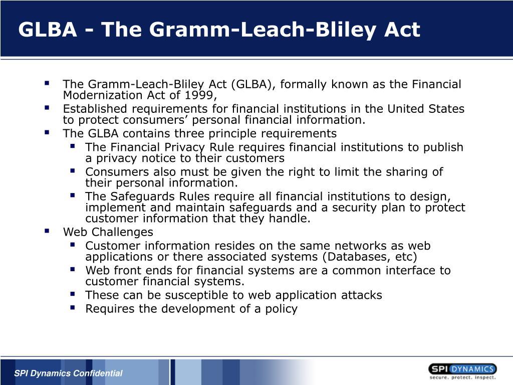 GLBA - The Gramm-Leach-Bliley Act