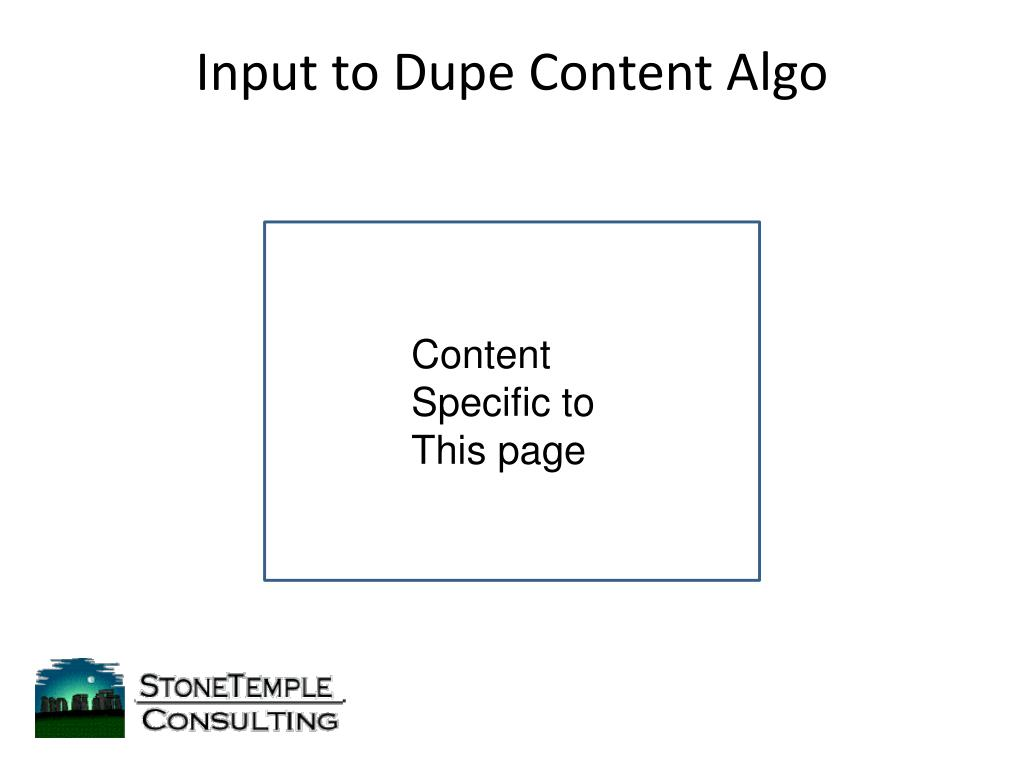 Input to Dupe Content