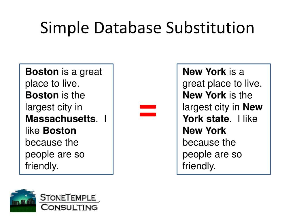 Simple Database Substitution