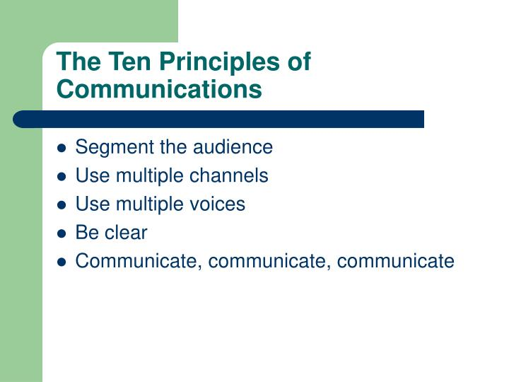 The Ten Principles of Communications