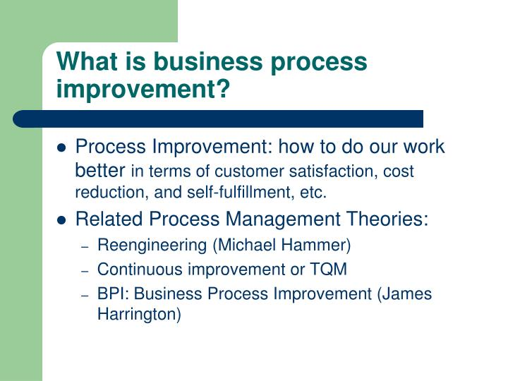 What is business process improvement?