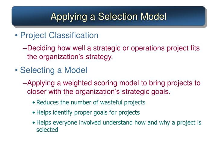 Applying a Selection Model