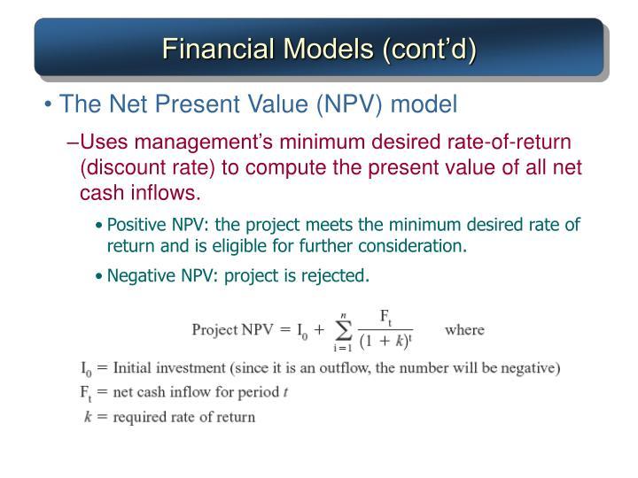 Financial Models (cont'd)