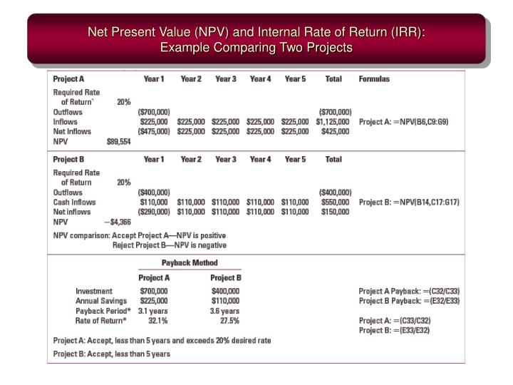 Net Present Value (NPV) and Internal Rate of Return (IRR):
