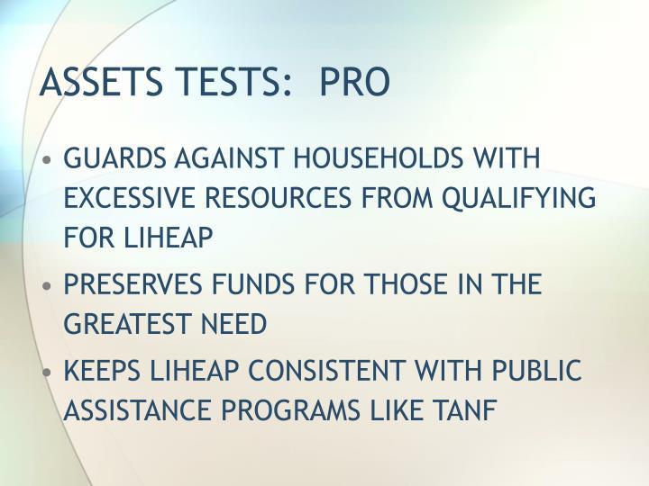 ASSETS TESTS:  PRO