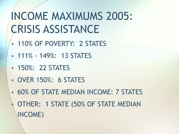 INCOME MAXIMUMS 2005:  CRISIS ASSISTANCE