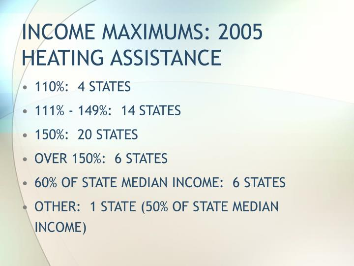 INCOME MAXIMUMS: 2005 HEATING ASSISTANCE