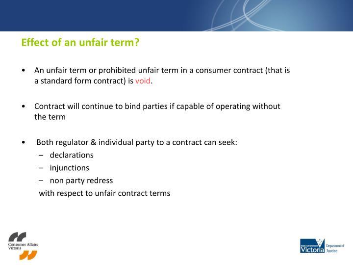 Effect of an unfair term?
