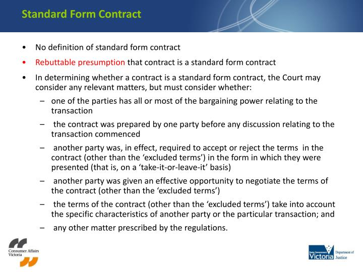 Standard Form Contract