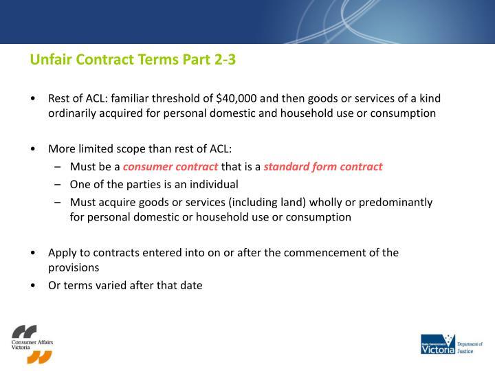 Unfair Contract Terms Part 2-3