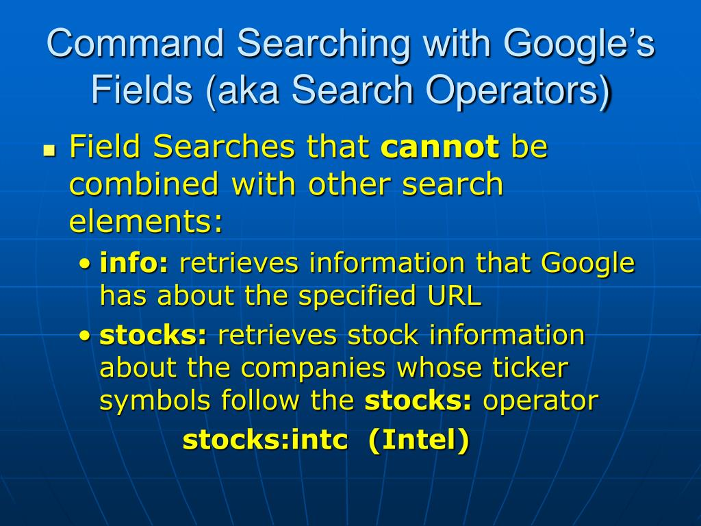 Command Searching with Google's Fields (aka Search Operators)