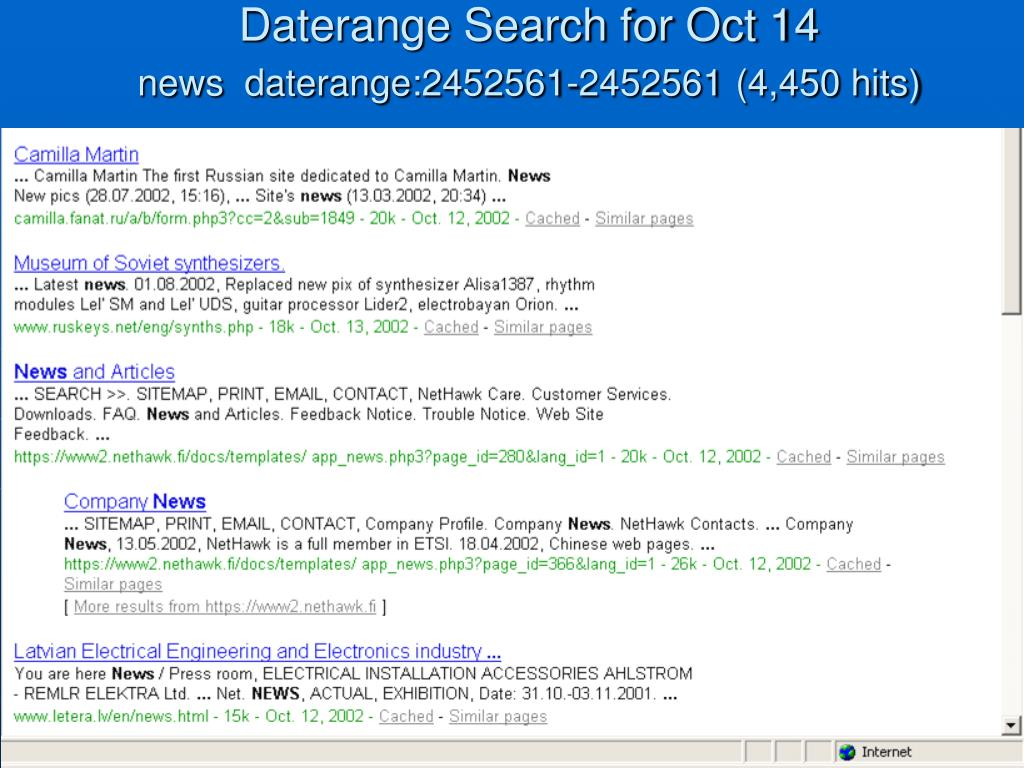 Daterange Search for Oct 14