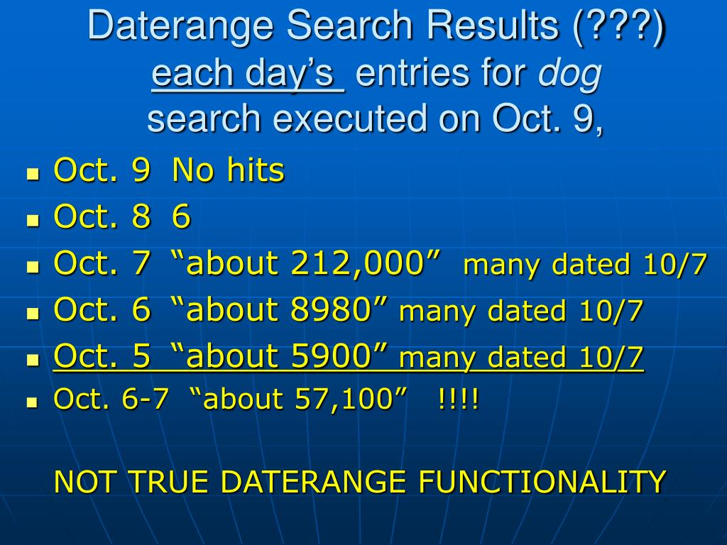Daterange Search Results (???)
