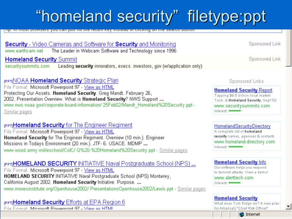 """homeland security""  filetype:ppt"