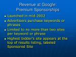 revenue at google premium sponsorships