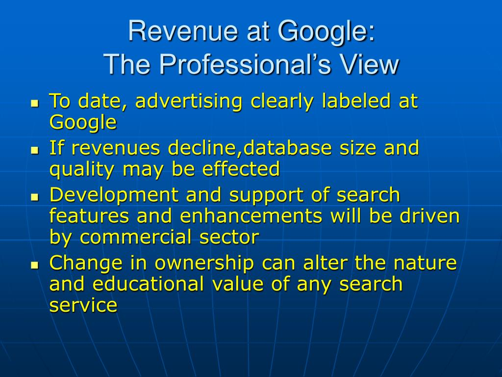 Revenue at Google: