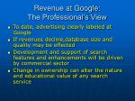 revenue at google the professional s view