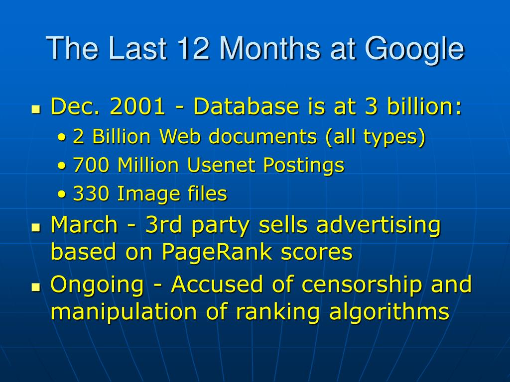 The Last 12 Months at Google