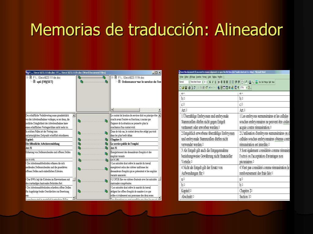 Memorias de traducción: Alineador