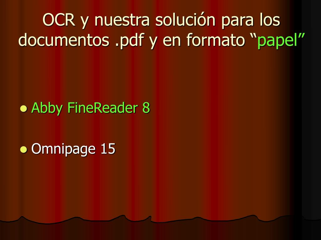 """OCR y nuestra solución para los documentos .pdf y en formato """""""