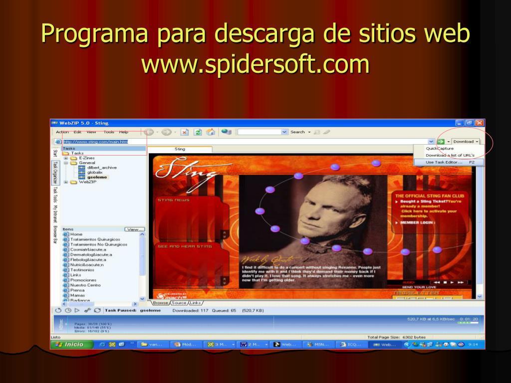 Programa para descarga de sitios web