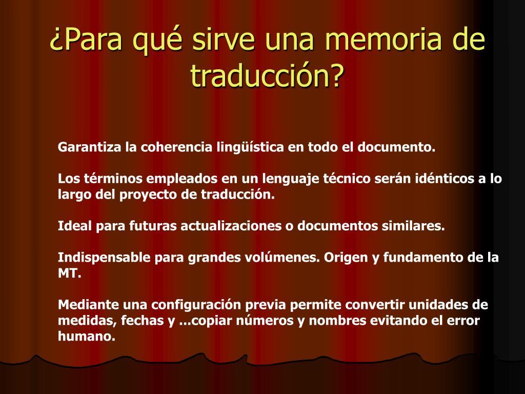 ¿Para qué sirve una memoria de traducción?