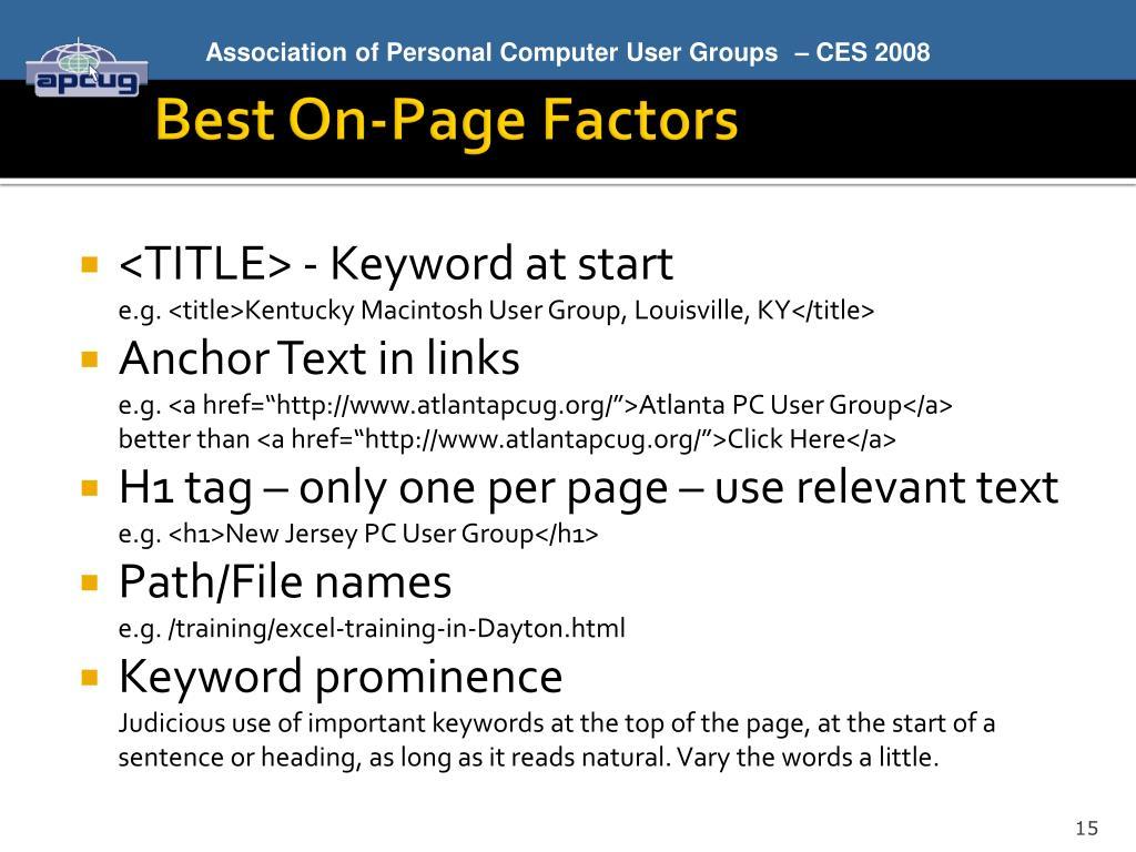 Best On-Page Factors