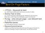 best on page factors