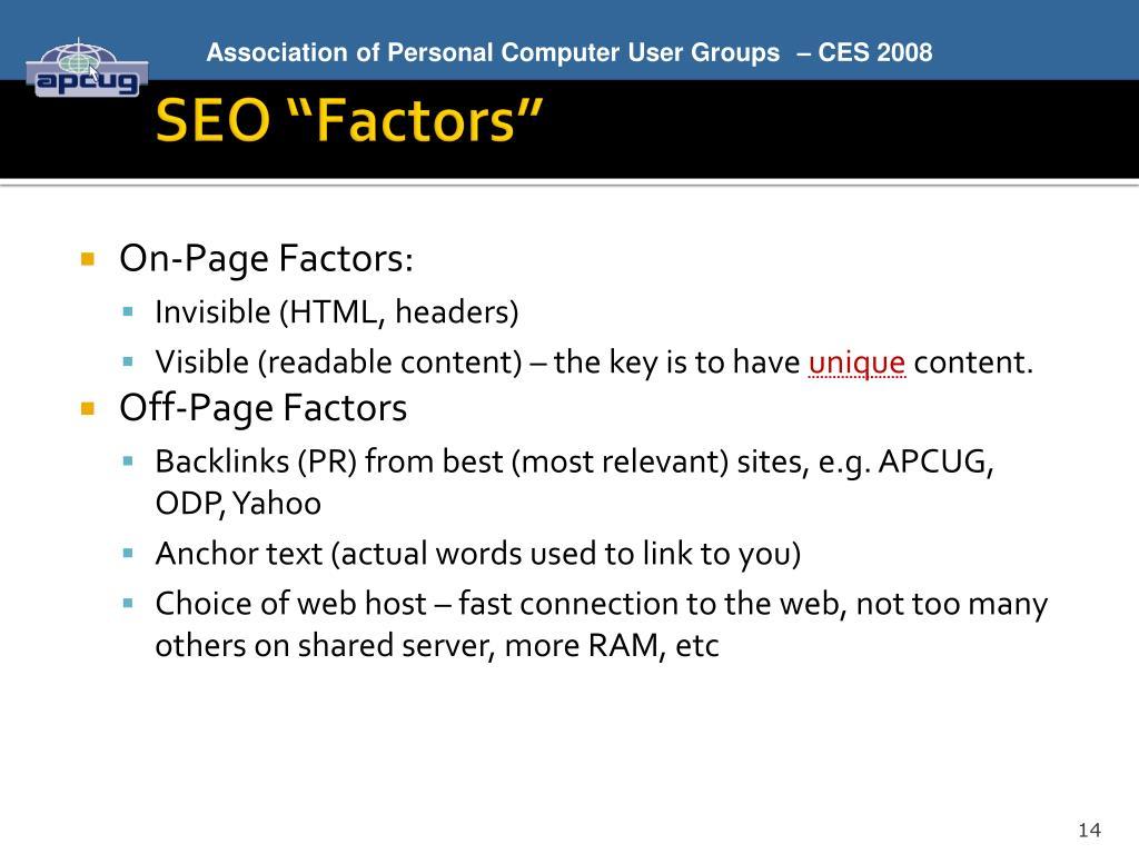"""SEO """"Factors"""""""