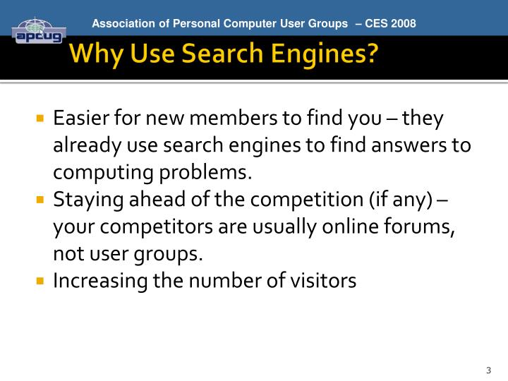 Why use search engines