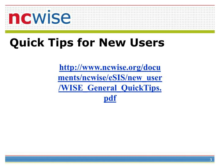 Quick tips for new users