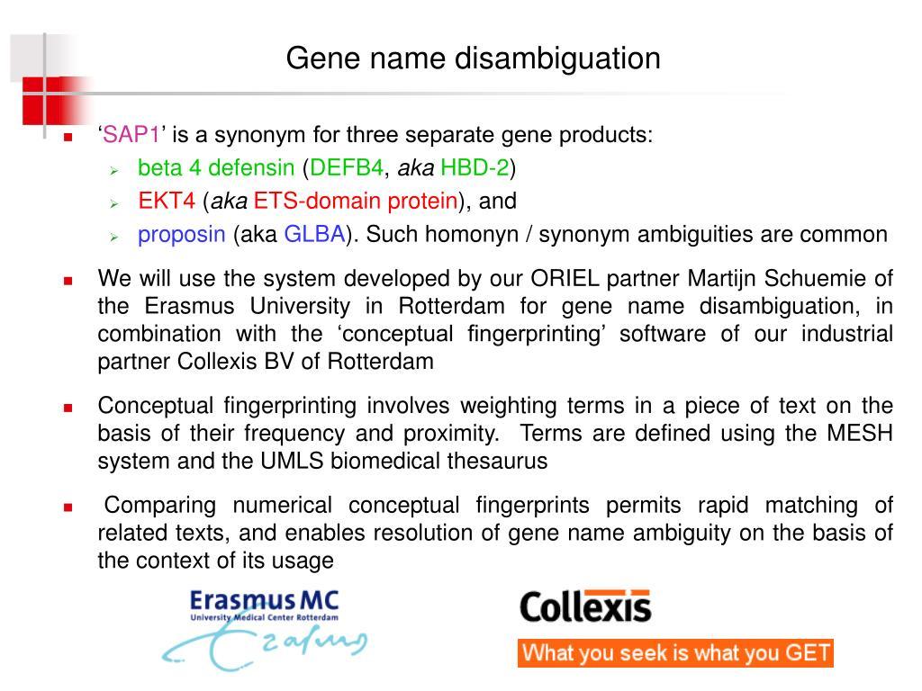Gene name disambiguation