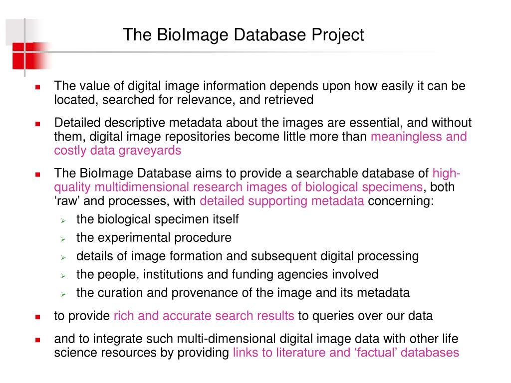 The BioImage Database Project
